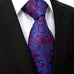 Fuchsia and Blue Floral Paisley Silk Necktie Set JXPS13