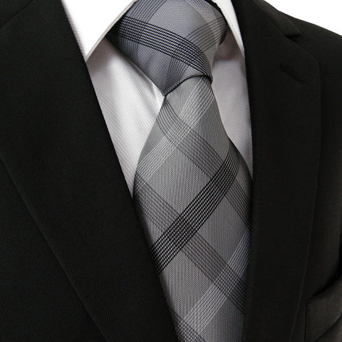 Checked Black and Dark Gray Silk XL Necktie Set JXPS01