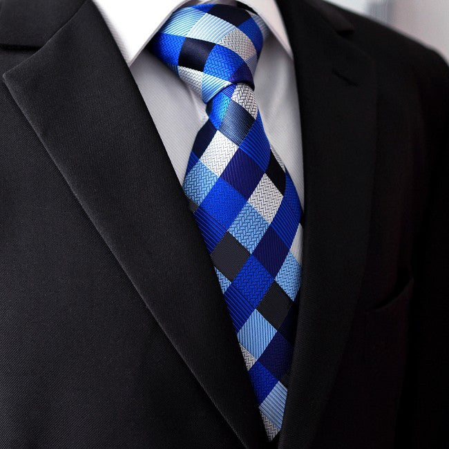 Blue and Black Checked Silk Necktie Set JXPS02