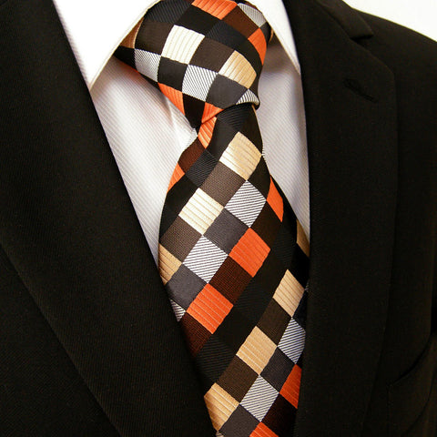 Checked Silk Necktie Set JXPS04
