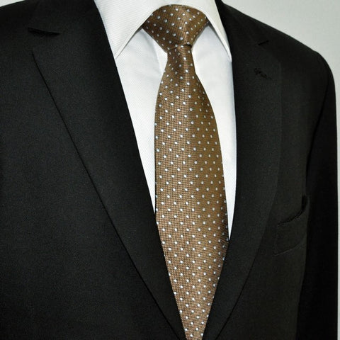 Dark Khaki Brown and Silver Polka Dot Necktie Set JXPY16