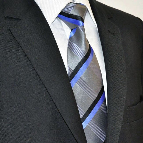 Gray,Black and Blue Silk Necktie Set JXPY35