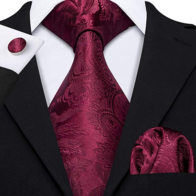 Burgundy Silk Necktie Set -LBW000
