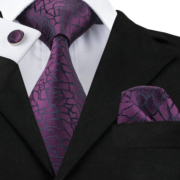 Purple and Black Silk Necktie Set LBW1004