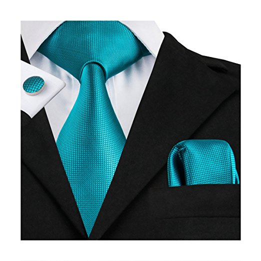 Solid Teal Wedding Necktie Set LBW100