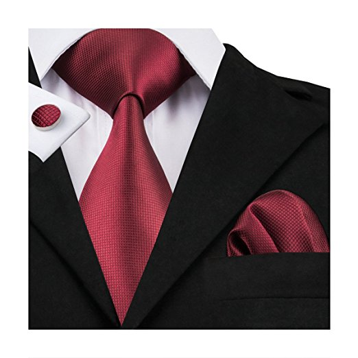Solid Burgundy Wedding Necktie Set LBW101