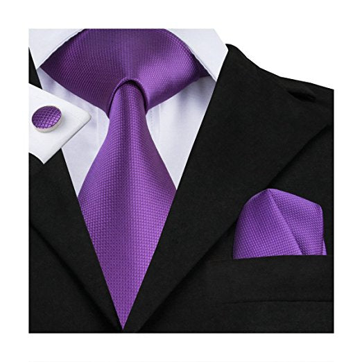 Solid Purple Wedding Necktie Set LBW105