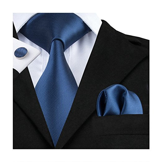 Solid Navy Blue Wedding Necktie Set LBW106