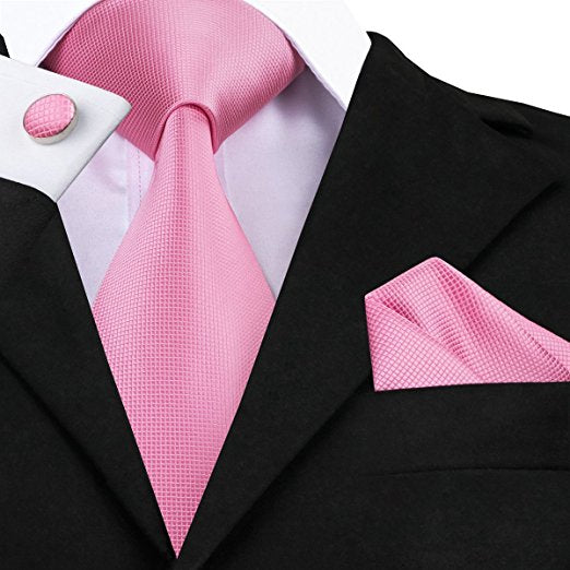 Solid Pink Wedding Necktie Set LBW108