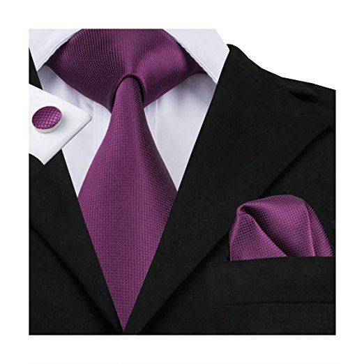 Solid Plum Wedding Necktie Set LBW109