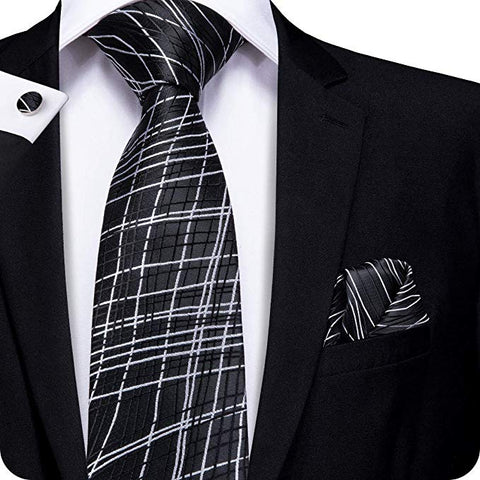 Black White Criss Cross Silk Necktie Set LBW1171