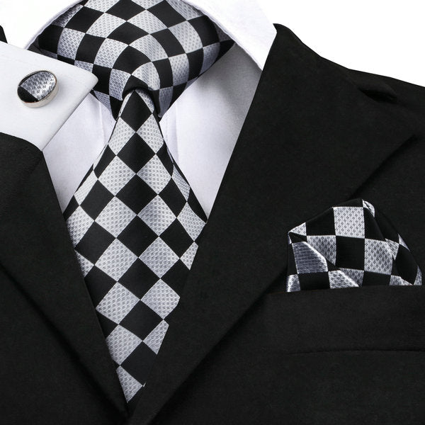 Black and Gray Daimond Silk Tie Set LBW1441