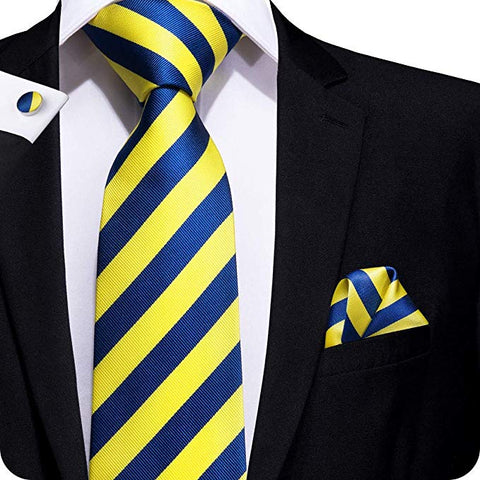 Blue Yellow Silk Tie Set LBW1490
