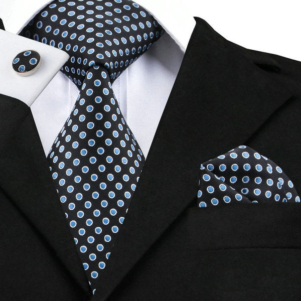 Black Blue Silk Necktie Set LBW1491