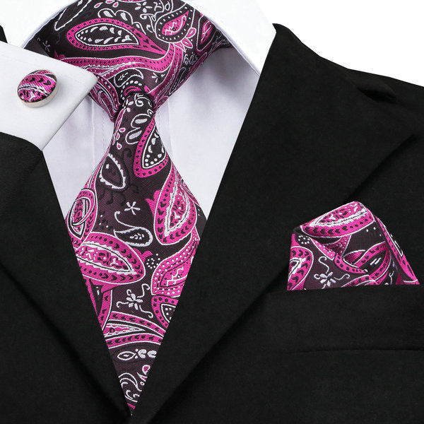 Rose Red,Black,White and Fuchsia Paisley LBW1548