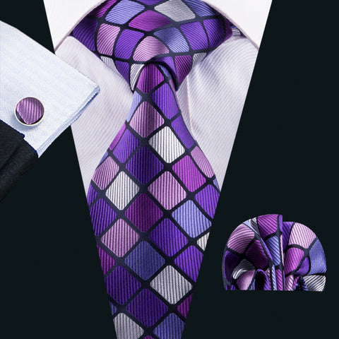 Purple Pink and White Silk Necktie Set LBW1579