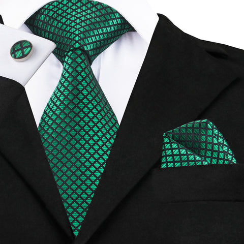 Green and Black Silk Necktie Set LBW1608