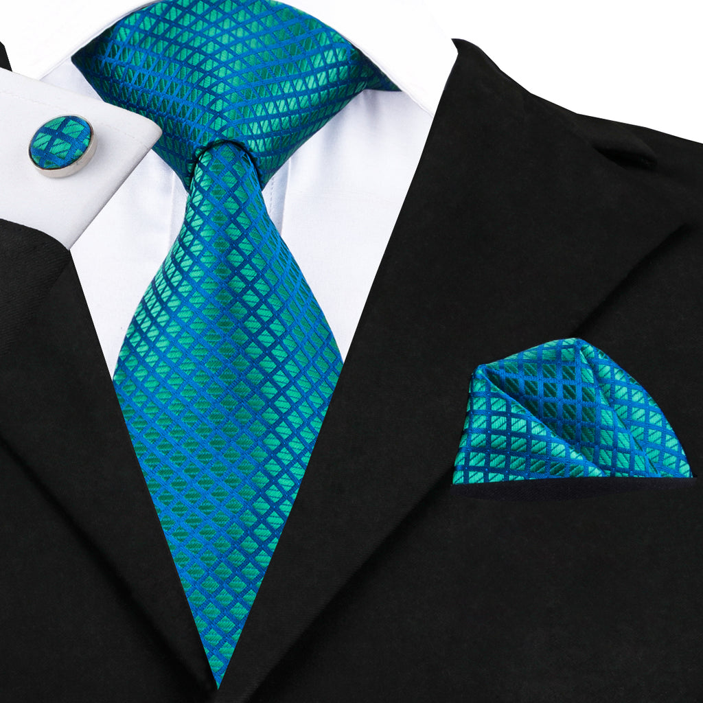 Peacock Blue and Green Silk Wedding Necktie Set LBW1610