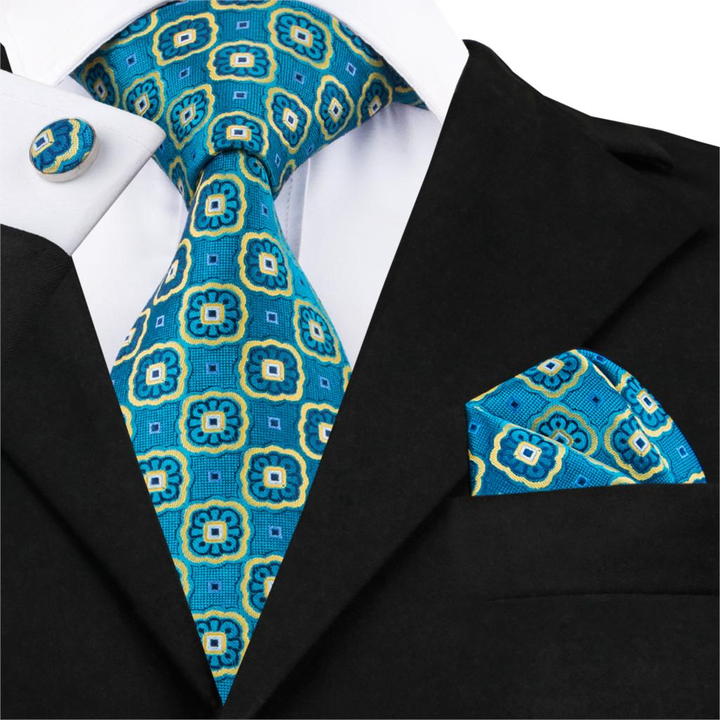 Teal Blue and Yellow Geometric  Silk Necktie Set LBW1612