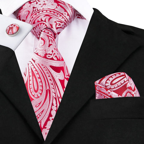 Red Paisley Silk Necktie Set LBW1623