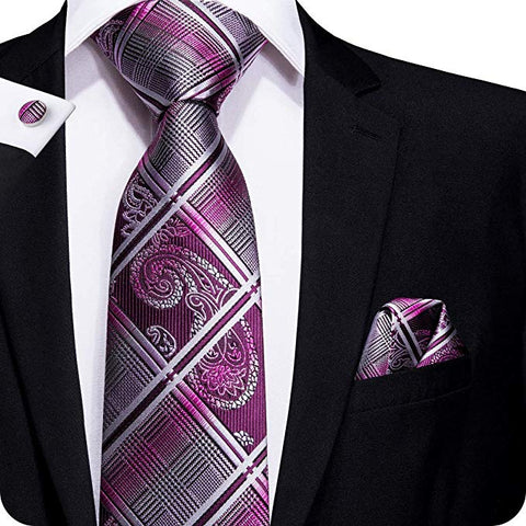 Purple and Gray Plaid Paisley Necktie Set lbw1650