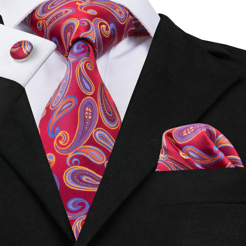 Red Orange and Blue Paisley Necktie Set LBW1654