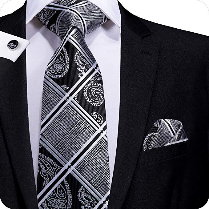 Gray and Black Plaid Paisley Necktie Set LBW1659