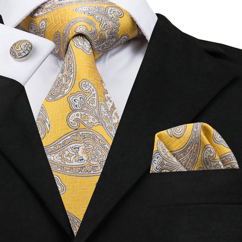 Yellow Blue and Gray Paisley Silk Necktie SetLBW1730