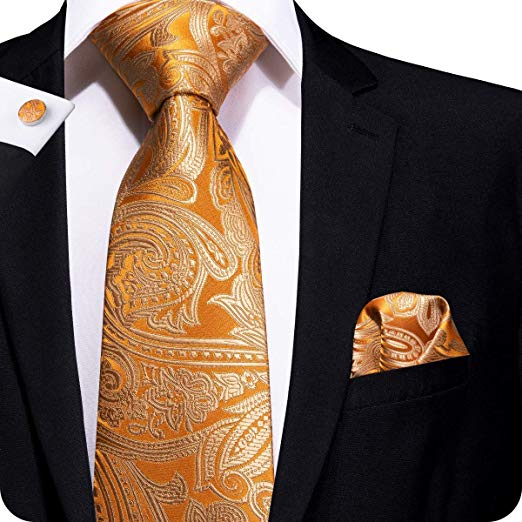 Orange Paisley Silk Necktie Set LBW214