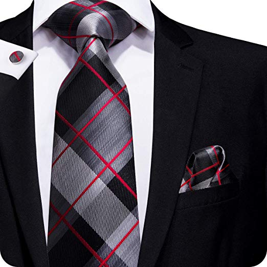 Black Red Gray Plaid Tie Set LBW216 | Mens Ties