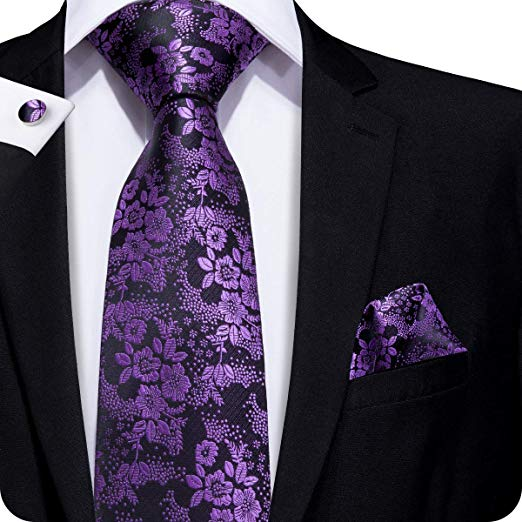 Purple and Black Floral Silk Necktie Set LBW217