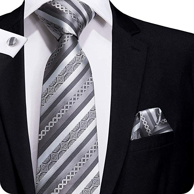 Silver Gray Silk Necktie Set LBW218