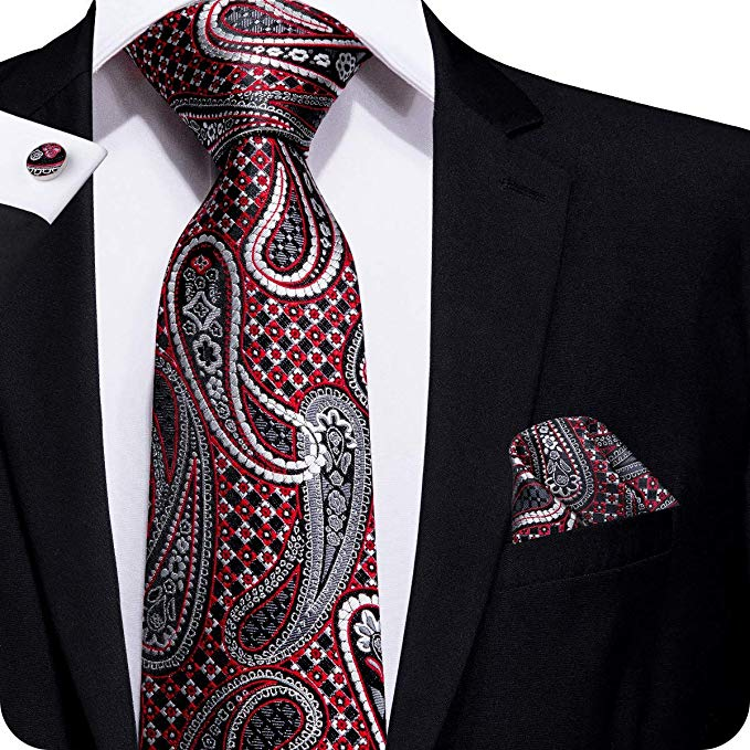 Black Red and Gray Paisley Tie Set LBW224
