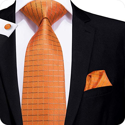 Orange and Tan Silk Necktie Set LBW227