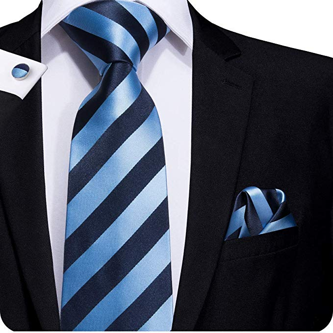 Lt.Blue and Dark Blue Silk Stripe Necktie Set LBW229