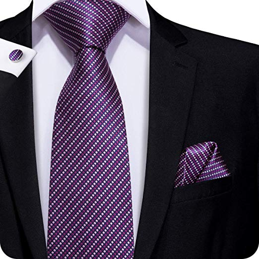 Purple Plaid Silk Necktie Set LBW230