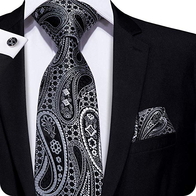Black and Gray Silk Paisley Tie Set LBW232