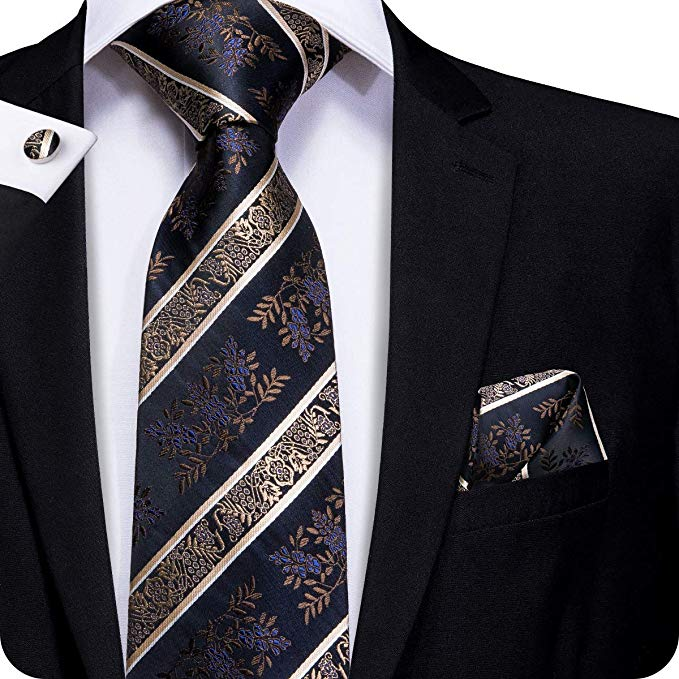 Black Brown Blue Tie Set LBW23B