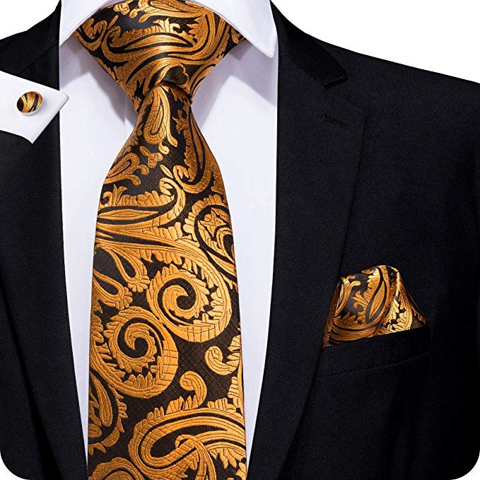 Copper and Brown Silk Paisley Necktie Set LBW233