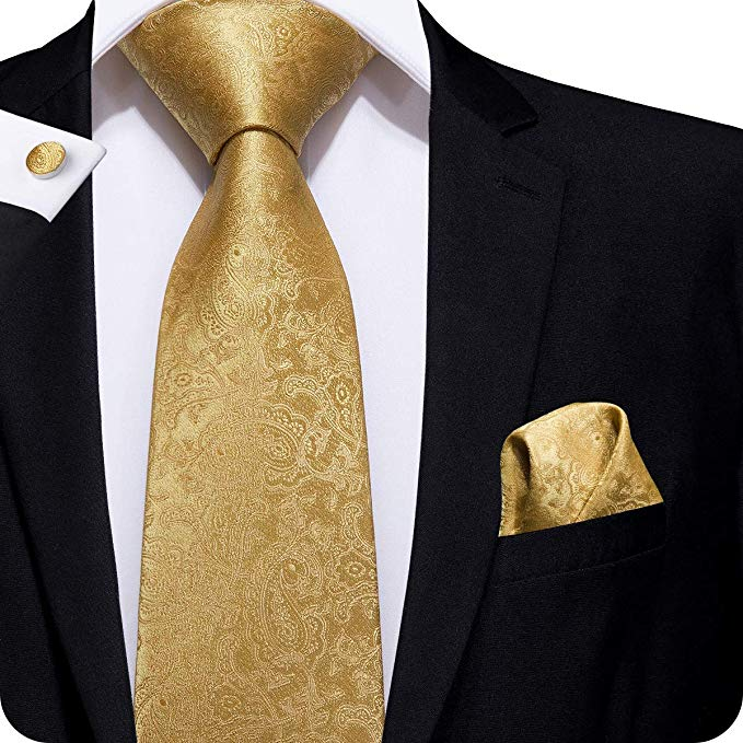 Gold Silk Paisley Necktie Set LBW235