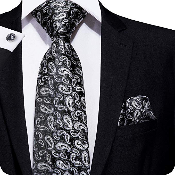 Black and Silver Paisley Tie Set LBW237
