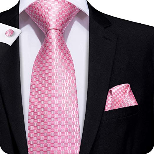 Pink and White Silk Necktie Set LBW240