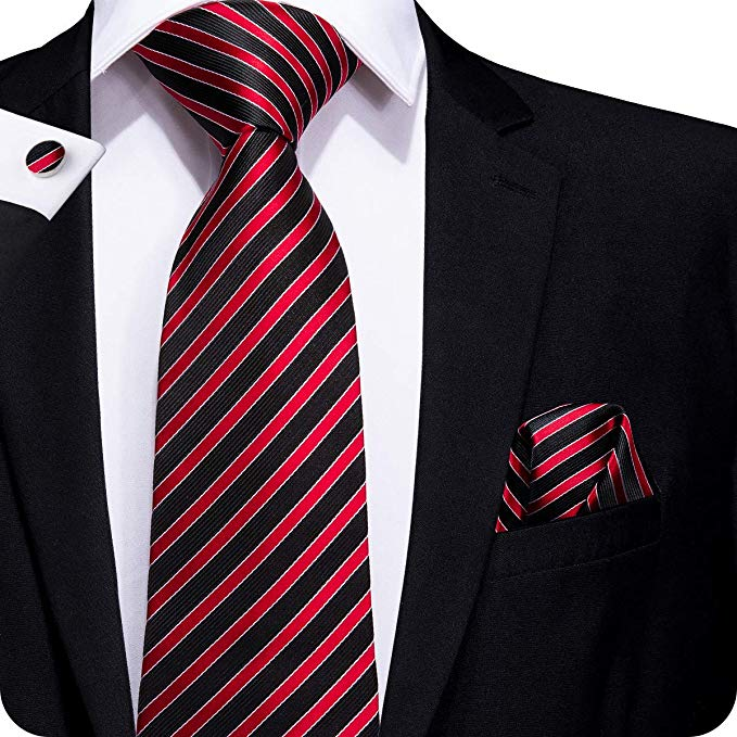 Black and Red Stripe Tie Set LBW247