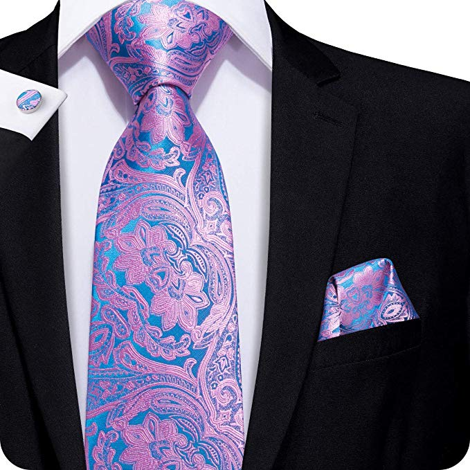 Pink and Blue Silk Paisley Necktie Set LBW255