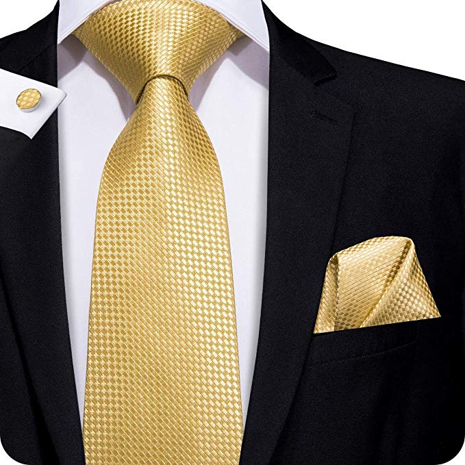 Gold Check Silk Necktie Set LBW256- Free Shipping