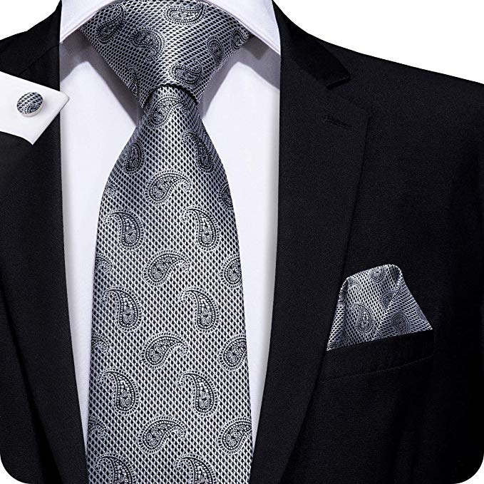Grey Paisley Pattern Necktie Set LBW258