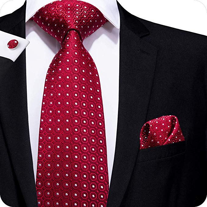 Red White Polka Dot Silk Necktie Set LBW259- Free Shipping