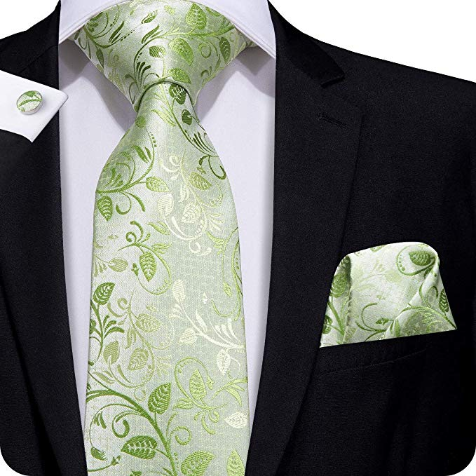 Mint Green Floral Silk Necktie Set LBW261- Free Shipping