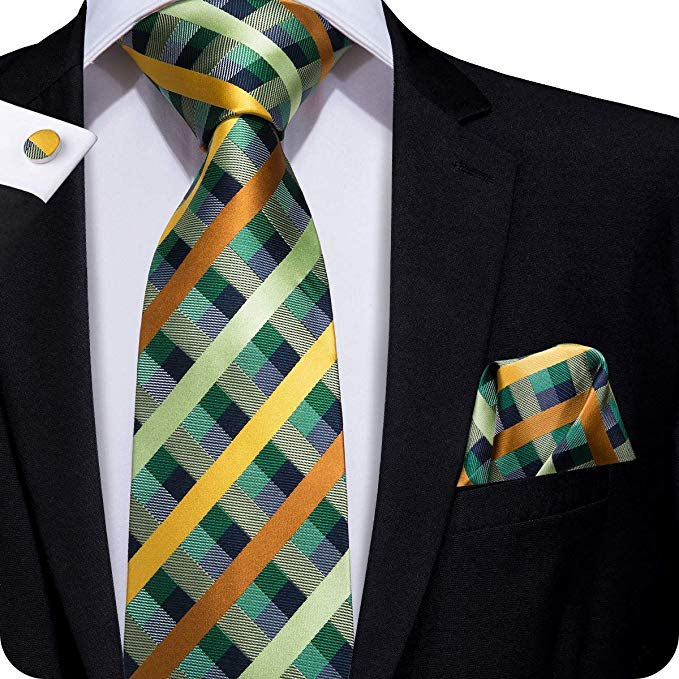 Green Gold Blue Orange Plaid Necktie Set LBW262 - Free Shipping