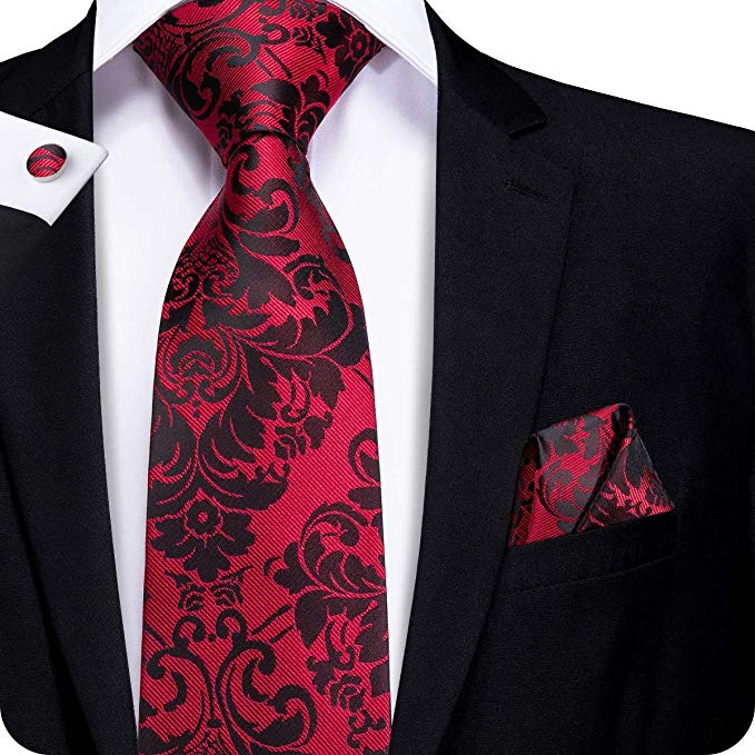 Red and Black Floral Silk Necktie Set LBW269- Free Shipping